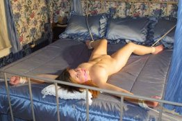 Gorgeous Model Gets Restrained and Gagged in Bedroom