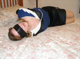Horny Housewife Tightly Bound in Bedroom for Fun