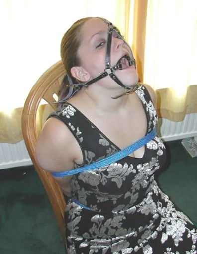 Pretty Amateur in a Dress Tied and Gagged on Chair