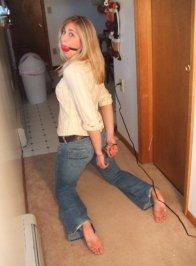 Pretty Blond Girlfriend Cuffed and Gagged for Fun