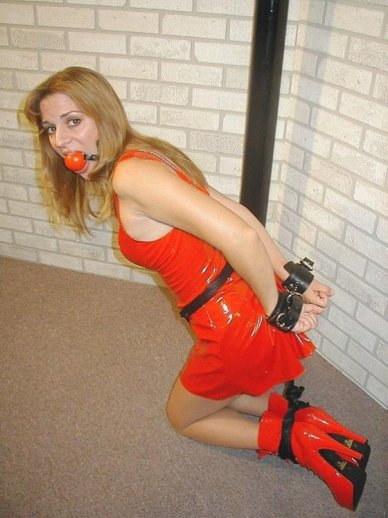 Sexy Amateur Handcuffed and Gagged in Red PVC Dress