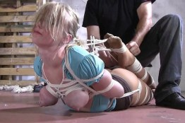 Busty Blond Teen Dominated Hard in Extremely Tight Rope Bondage