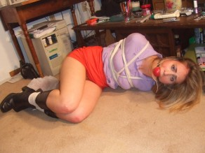 Cute Blond Girlfriend Gagged and Bound by Her Boyfriend at Home for Fun