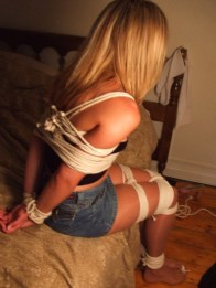 Cute Blond Girlfriend Tied Up, Collared and Ball Gagged in Bedroom for Fun