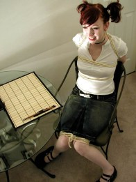 Cute Redhead Schoolgirl Gets Chair Tied and Cleave Gagged by Headmaster