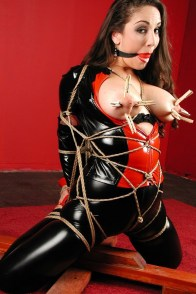 Jewell Marceau Tied Up, Ball Gagged and Tit Tortured in Latex Catsuit