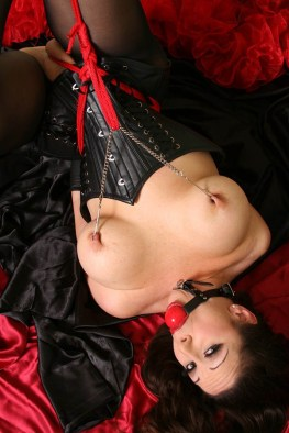 Jewell Marceau Tied Up, Tit Tortured and Ball Gagged in Corset and Heels