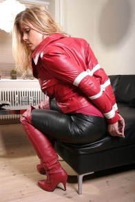 Kinky Blond MILF Gets Bound and Harness Gagged in High Heel Boots