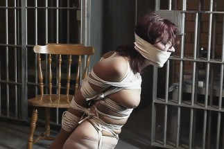Kinky Housewife in Stockings Tightly Bound and Gagged by Her Husband
