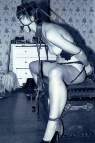 Kinky Vintage Model Gets Blindfolded and Harness Gagged in High Heels