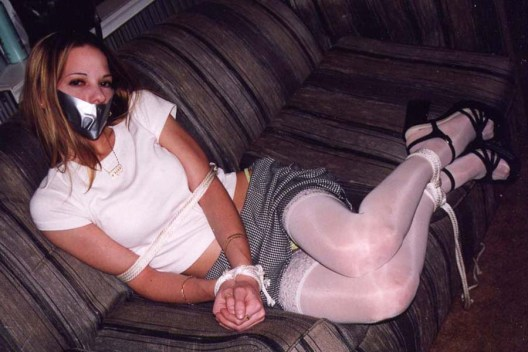 Two Amateur Blond Teens Tied Up and Gagged at Home for Fun