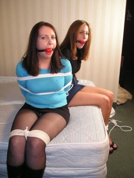 Two Cute Girls Tied Up, Gagged and Blindfolded in Motel Room for Fun