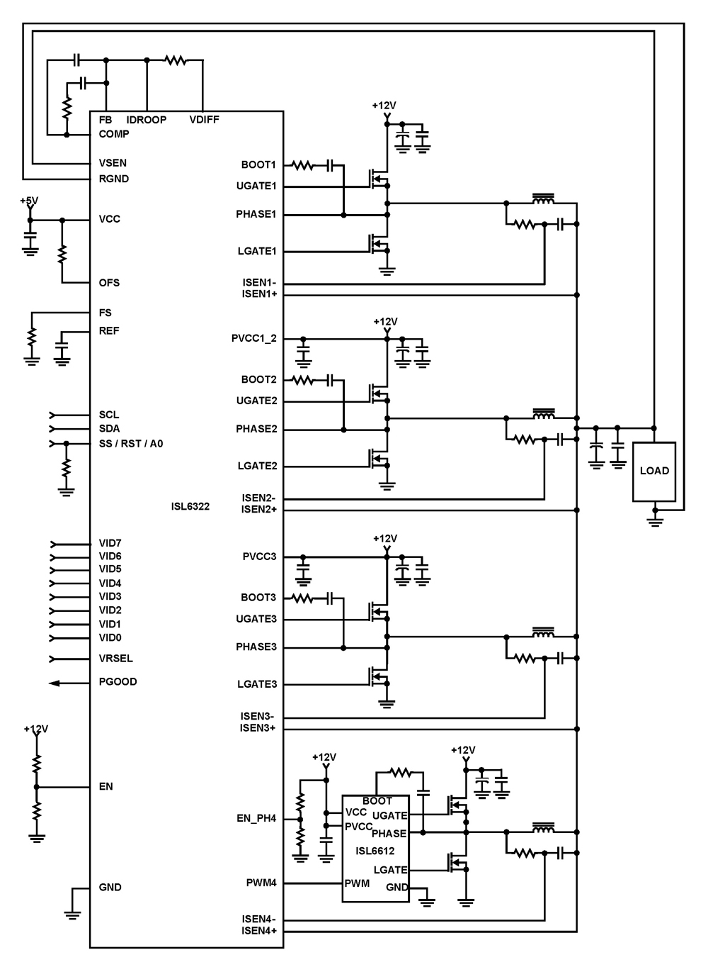 ISL6322: Four-Phase Buck PWM Controller with Integrated