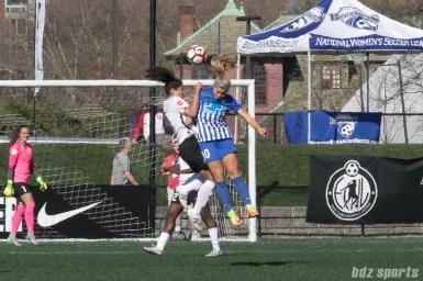 Sky Blue FC's Raquel Rodriguez #11 battles Breaker's Rosie White #11 for the ball.