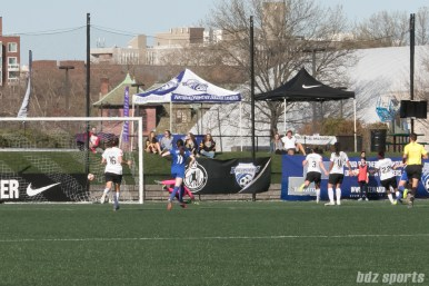 Breakers' Natasha Dowie #9's strike hits the back of the net giving Boston a 1-0 lead.