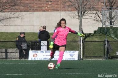 Sky Blue FC's Kailen Sheridan #1 clears the ball.