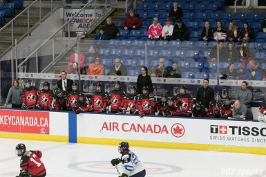 Team Canada's bench during the IIHF Ice Hockey Women's World Championship semifinal game against Finland.