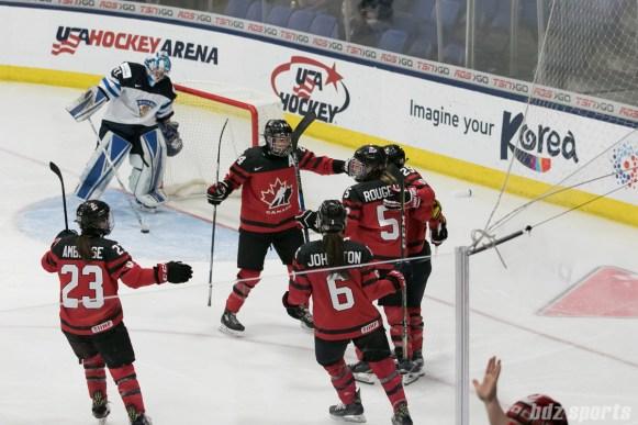 Team Canada celebrating Marie-Philip Poulin's #29 goal.