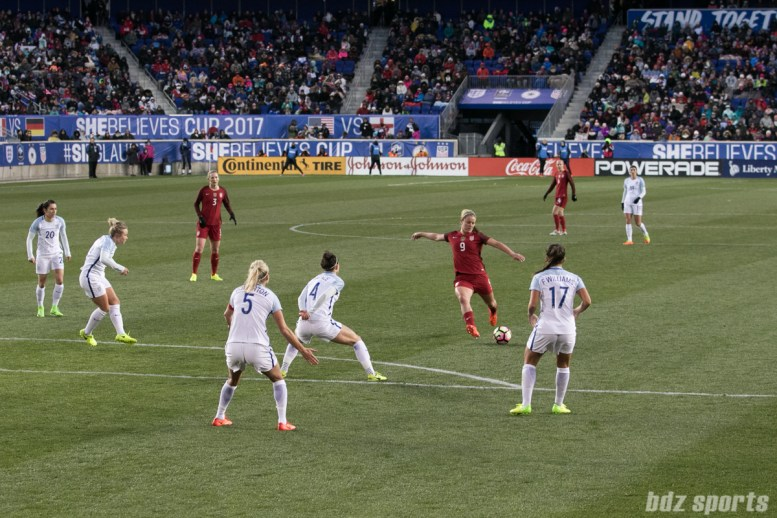 Team USA Lindsay Horan takes a shot