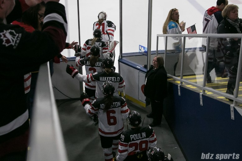 Team Canada enters the ice at the start of the IIHF Women's World Championships gold medal game.