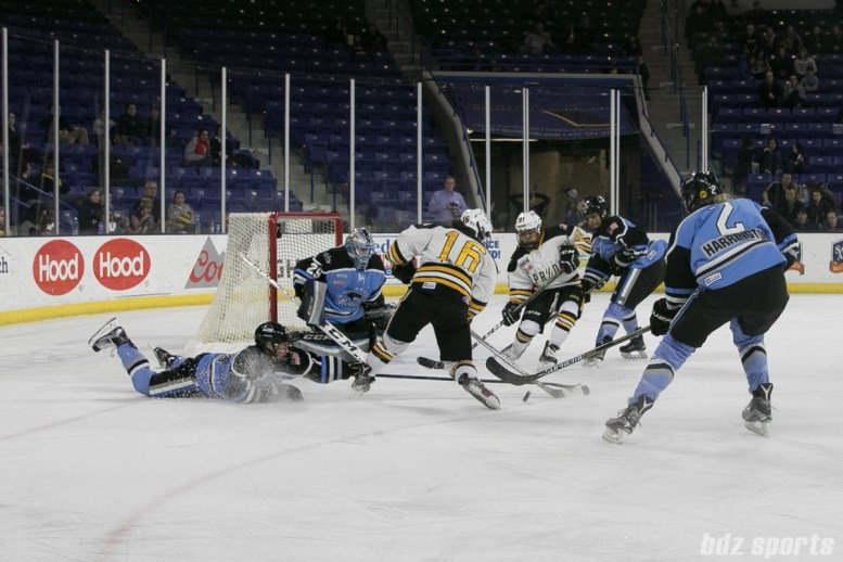 Pride Amanda Pelkey takes a shot with Beauts Emily Pfalzer attempting a sliding stop