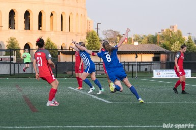 Boston Breakers defender Julie King (8) and forward Natasha Dowie (9) celebrate Dowie's goal.