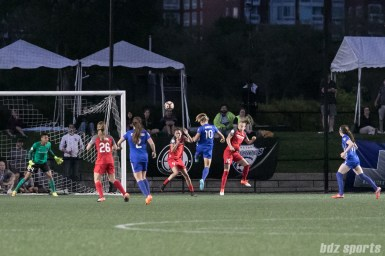 Boston Breakers midfielder Rosie White (10) heads on the ball for Boston's second goal of the game.