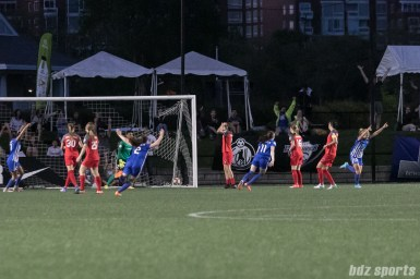 Boston Breakers celebrating White's goal.
