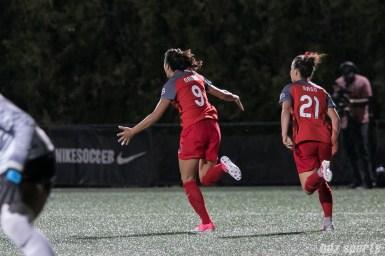 Portland Thorns FC forward Nadia Nadim (9) celebrates scoring the game-tying goal.