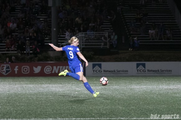 Breakers' Natasha Dowie #9 prepares to strike what would be Boston's 3rd goal of the game.