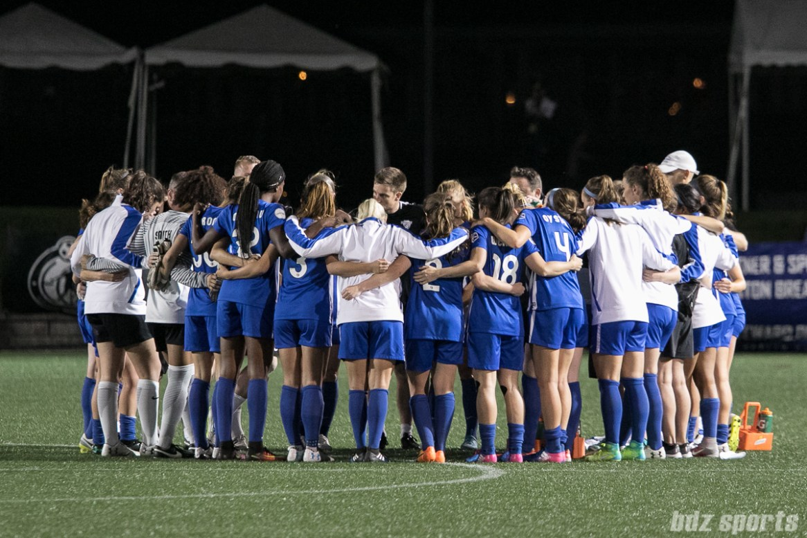 Boston Breakers huddle post-game