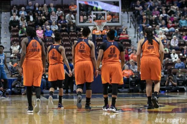 Connecticut Sun Shekinna Stricklen (40), Jasmine Thomas (5), Alyssa Thomas (25), Alex Bentley (20), and Brionna Jones (42) walk down court.