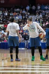 Minnesota Lynx Lindsay Whalen (13) and Renee Montgomery (21) during warm-ups.