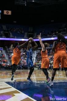 Connecticut Sun forward Shekinna Stricklen (40) blocks the shot by Minnesota Lynx forward Natasha Howard (3).