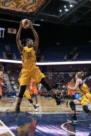 Sparks' Avery Warley-Talbert #32 comes down with the defensive rebound.