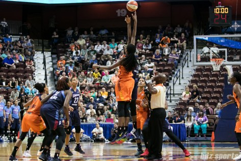 Connecticut Sun center Jonquel Jones (35) and Atlanta Dream center Elizabeth Williams (1) take the tip off at the start of the game.