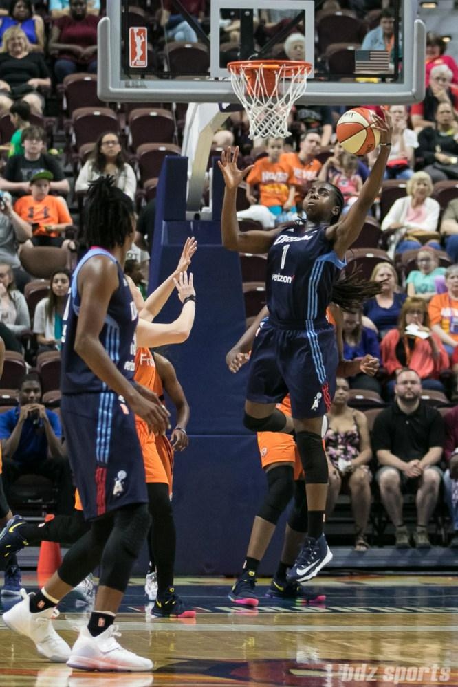 Atlanta Dream center Elizabeth Williams (1) comes up with the offensive rebound.