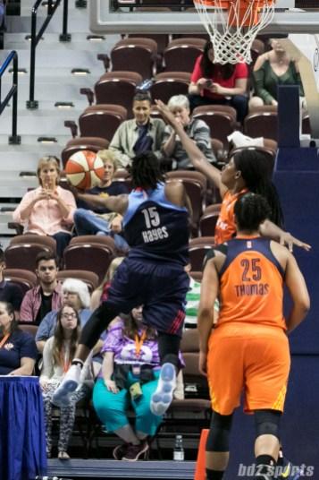 Atlanta Dream guard Tiffany Hayes (15) drive down the lane for a layup.