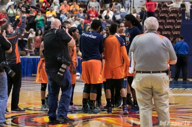 The Connecticut Sun huddle after defeating the Atlanta Dream 104 - 71.