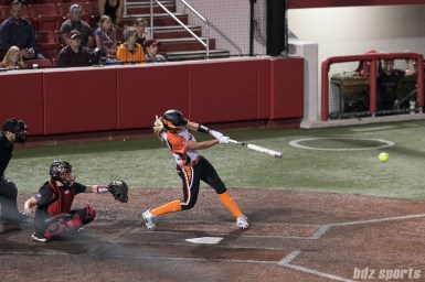 Chicago Bandits first baseman Chelsea Forkin (25) hits in two runs with a single in the 5th inning.