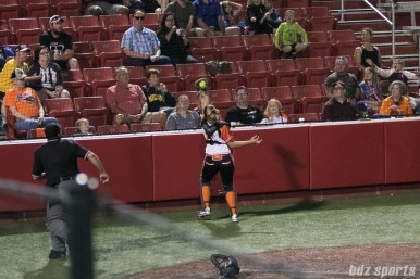 Chicago Bandits catcher Taylah Tsitsikronis (65) catches a foul ball for the out.