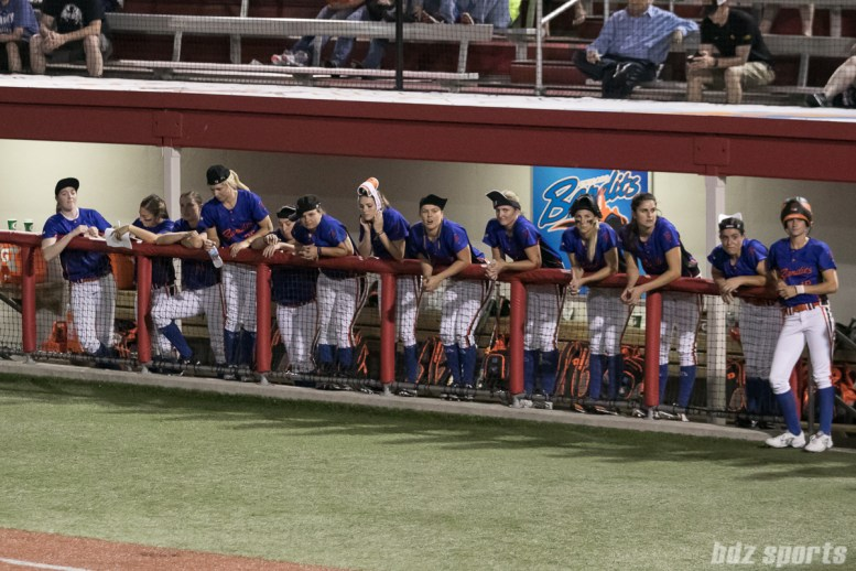 The Chicago Bandits dugout with their rally caps on.