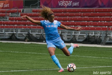 Chicago Red Stars defender Casey Short (6) clears the ball upfield.