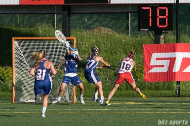 Boston Storm attacker Mckinley Sbordone (18) looks on as the ball heads towards the net.