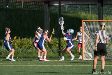 Long Island Sound goalie Caylee Waters (43) makes a stop in front of the goal.