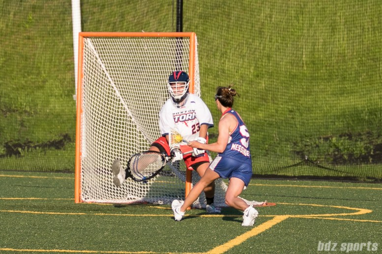 Long Island Sound attacker Aly Messigner (5) takes a shot on Boston Storm goalie Jackie Chirco (23).