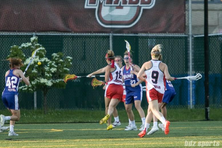 Boston Storm attacker Mckinley Sbordone (18) takes a shot on goal.