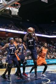 Atlanta Dream center Elizabeth Williams (1) comes up with the defensive rebound.
