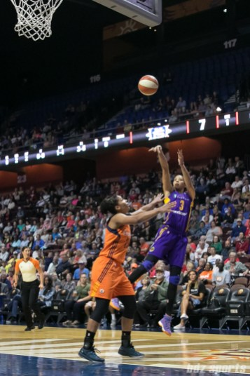 Los Angeles Sparks forward Candace Parker (3) takes a jump shot.