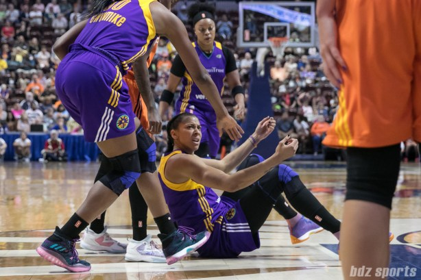 Los Angeles Sparks forward Candace Parker (3) looks for the call after being fouled in the paint.